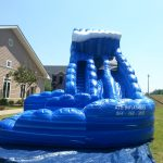 dual lane blue inflatable water slide